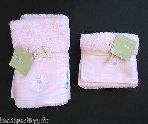 4 PC SET PINK+WHITE DAISY FLOWER 100% COTTON HAND TOWEL+WASH CLOTH-FROM PORTUGAL