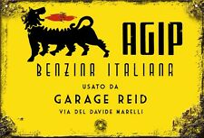 Vintage Retro Personalised AGIP Oil Petrol Medium Size Metal Tin Sign Italian