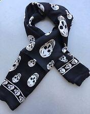 Fashionable Skeleton Print Square Silk Scarf 100cm X 100cm, Black