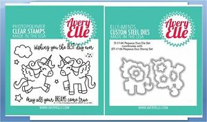 Avery Elle Photopolymer Clear Stamp & Die Combo ~ PEGASUS DUO Dream  ~ST/D-17-06