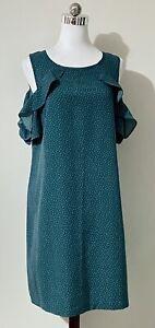 Tokito Size 10 Mini Dress Green White Spots Cold Shoulder Shift Keyhole CUTE!