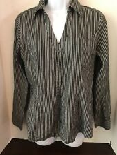EXPRESS Women's Black and White Striped Long Sleeve Button Down Shirt Size M