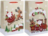 Luxury Christmas Glitter Santa Sleigh Reindeer Design Present Gift Bag 18X24X8