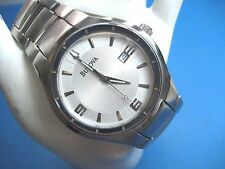 BULOVA 96G70 MEN'S CASUAL WATCH STAINLESS STEEL SILVER DIAL DATE/ANALOG/MODERN