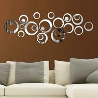 24pcs 3D Circles Mirror Wall Sticker DIY Decal Vinyl Mural Home Decor Removable-
