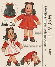 "Original 1948 Vintage Little Lulu 17"" Cloth Doll Sewing Pattern"