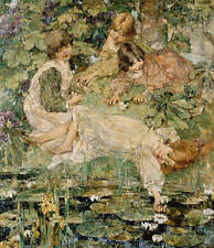 Oil painting beautiful children little girls playing by pond with lotus flowers