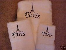 3 pc set Eiffel Tower/Paris Towels White or off white