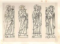 1857 Grande Arquitectura Estampado ~ Seez Catedral Medieval Gótico Arte Medieval