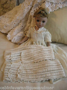 """Antique Vintage Crochet For Ribbon Weave French Doll Pillow Lace Trim 2 22"""" 24"""""""