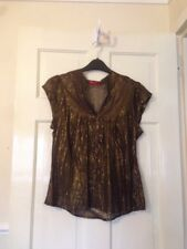 New Look Sheer Brown Glittery Cap Sleeve Shirt Bnwot size M
