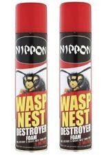 2 x Nippon Wasp Nest Killer Destroyer Foam Spray Aerosol 300ml Loft Garage Tree