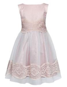 Sly Mädchen Kleid Festlich Blumenmädchen Hochzeit Einschulung Spitze Tüll Rosa