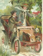 Antique Automobile Embossed Glitter 1900s Postcard