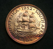 SOUTH AFRICA 1952 PROOF PENNY aFDC Toning on Reverse