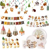 Woodland Animal Cake Topper Banner Tableware Baby Shower Birthday Party Supplies