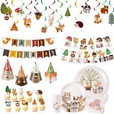 Woodland Fox Banner Birthday Party Decor Kids Baby Shower Paper Plates Supplies