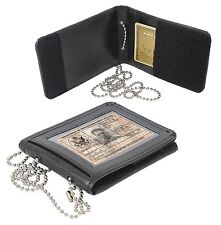 Identification Holder w/ Neck Chain Secure Leather ID Clear Card Badge Keeper