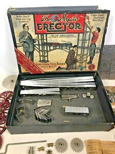 Vintage Gilbert Erector Set No. 3 Mysto 1915 Box Parts Voucher Electric Motor Ad