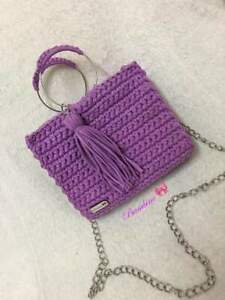 FASHION SHOULDER  HANDMADE CROCHET KNITTED PURSE PURPLE DOTTED BAG CROSSBODY