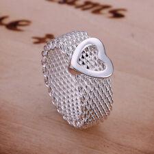 925 Sterling Silver Flexible Ring Heart Size 8 B1