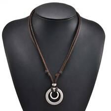 Retro Men Double Circle Ring Adjustable Leather Cord Necklace Pendant Jewelry