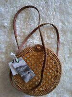 Women's Bag Handwoven Round Rattan Straw Crossbody Leather Strap