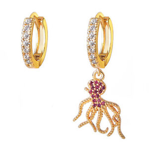 Full Of Stone Special Octopus Style Rose Topaz Gems Yellow Gold Dangle Earrings