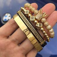 Men Anil Arjandas CZ Crown Bracelet Roman Numeral Stainless Steel Cuff Bangle