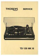 Service Manual-Anleitung für Thorens TD 126 MK3