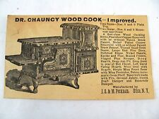Wood Cook Stove Trade Card Dr Chauncy JS&M Peckham Utica NY
