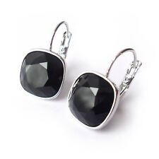 Jet Black Drop Earrings with 12mm Cushion Cut Swarovski Crystal Rhinestone Prom