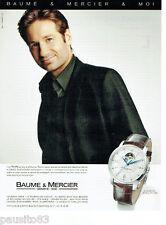 PUBLICITE ADVERTISING 115  2009  BAUME & MERCIER  montre CLASSIMA  D. DUCHOVNY