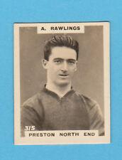 FOOTBALL - PHILLIPS PINNACE FOOTBALL CARD NO. 315 - RAWLINGS OF PRESTON - 1922