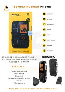 Sonica R2 IP68 Builders Phone Waterproof Shockproof Tough Rugged r1 Sim CAT