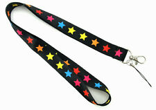 Coloured Star Pattern Lanyard Keychain Document Holder - Brand New