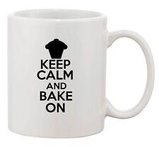 Keep Calm And Bake On Cake Cupcake Dessert Sweets Funny Ceramic White Coffee Mug