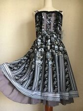 1340.BNWT!axes femme girly brand floral striped elegant summer black dress