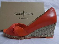 Cole Haan Size 10 M Ava Cherry Leather Open Toe Wedges New Womens Shoes