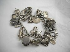 Vintage Sterling WWII World Travelers Charm Bracelet 26 Charms Special! (B)