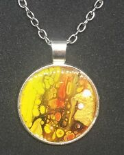 PENDANT& SILVER CHAIN,mother,cheap,painting,resin,mens,womens,gift,ferneydesigns