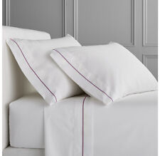 White Color 400Thread Count Sateen Bed Twin XL Size Sheet Set Wine Marrow Border