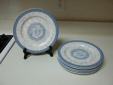 Cames Durable China Blue White Gray Set of 6 Dinner Plates 9 3/8 Inch