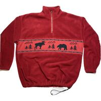 VINTAGE NEW ERA Canada 1/4 Zip Fleece Pullover Men's Large Red Moose Bear
