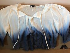 A. Byer Peasant Blouse Long Sleeve Navy Blue/ White Junior Large NEW!