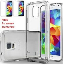 Transparent Soft cover Clear Silicon Case For SAMSUNG GALAXY S5 + 2x Screen Pro.