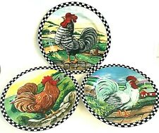 Farmhouse Roosters Plates Checkered Edge Kitchen Wall Decor Set of 3