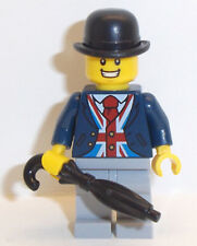 Lego British UK Minifig x 1 Union Jack Waistcoat Bowler Hat Umbrella England Fig