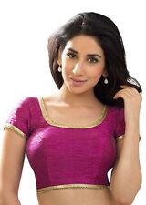 Violet Red Polyester Raw Silk Dupion Casual Blouse Top Choli Wedding Sari INDIAN