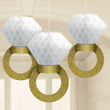 3 Honeycomb + Gold Glitter Rings Hanging Party Decorations Wedding Engagement